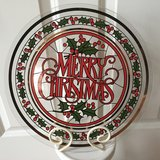"13"" BIG Christmas Glass Platter with Stand in Aurora, Illinois"