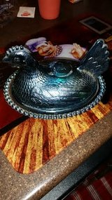 Vintage / Blue / Carnival Glass / Hen / Chicken Candy Dish in Fort Campbell, Kentucky