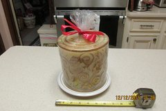 REDUCED - Giant 6 Pound Decorative Gold Scroll Candle - Never Lit in Kingwood, Texas