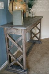 Wood console entry way X frame table in Camp Lejeune, North Carolina