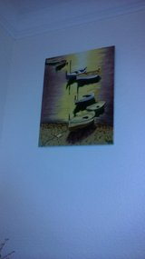 11 x 14 Hand Painted glazed ceramic painting of small boats in Travis AFB, California