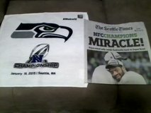 "Seahawks 2015 NFC Championship ""MIRACLE"" Seattle Times Newspaper & Rally Towel in Fort Lewis, Washington"