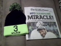 "Seahawks 2015 NFC Championship ""MIRACLE"" Seattle Times Newspaper & #3 Wilson Hat in Fort Lewis, Washington"