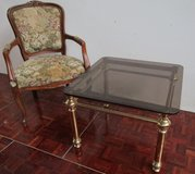 Brass and Smoked Glass end or Coffee Table in Ramstein, Germany