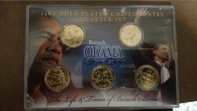 THE LIFE AND TIMES OF BARACK OBAMA 24KT GOLD PLATED UNITED STATES QUARTER SET (T=40/4) in Fort Campbell, Kentucky
