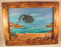 Palm Tree Ocean Seascape Acrylic Painting in Burned Wood Frame Wall Decor 9x12 in Macon, Georgia