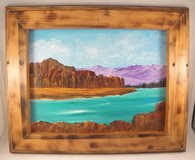 Mountain Lake Landscape Acrylic Painting in Burned Wood Frame Wall Hanging 9x12 in Byron, Georgia