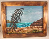 Acrylic Painting in Custom Wood Frame Wall Decor Hanging Ocean Seascape 9 x 12 in Byron, Georgia