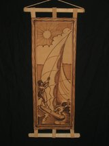 Sailing Sailor Nautical Leather Burning Art in Chicago, Illinois