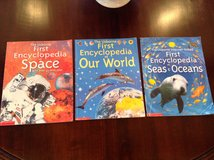 3 Usborne First Encyclopedia Paperback Books: Space, Our World, & Seas and Oceans in Plainfield, Illinois