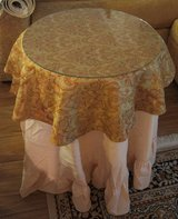 SIDE TABLE WITH GLASS TOP AND 2 LINEN TOPPERS in Lakenheath, UK