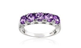 ****BRAND NEW***1.25 CTTW Amethyst Half-Eternity Ring in Sterling Silver****SZ 6 in The Woodlands, Texas