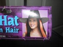 NEW WITH TAGS HALLOWEEN WITCH HAT WITH ORANGE HAIR ATTACHED in Camp Lejeune, North Carolina
