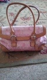 Cute Coach purse ROSE-PINK WITH TAN LEATHER in Oswego, Illinois