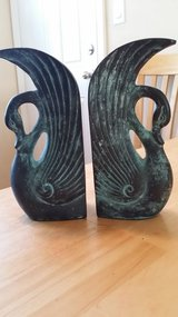 Brass swan bookends in Naperville, Illinois