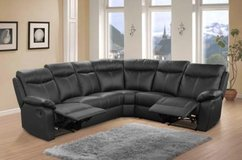 """Crown""- Leather Recliner Sectional in Black & Dark Grey - price includes delivery in Stuttgart, GE"