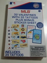 RARE MLB Valentines Day Cards (box of 32) with 35 tattoos plus sticker sheet Major League Baseball in Morris, Illinois