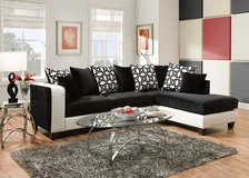 2 piece black & white leather sectional couch sofa with 10 pillows, beautiful!! in Naperville, Illinois