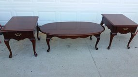 Thomasville Cherry Wood 3 Piece Coffee & End Table Set in Fort Campbell, Kentucky
