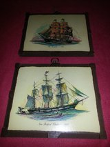 Pair of wooden ship plaques in Westmont, Illinois