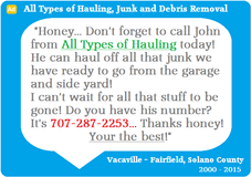 Local Hauler for Your Junk and Debris Removal Needs in Travis AFB, California