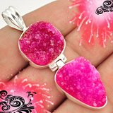 New - Sparkling Pink Ruby Druzy 925 Sterling Silver Pendant (Includes a chain) in Alamogordo, New Mexico