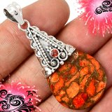 New - Orange Copper Turquoise and Garnet 925 Sterling Silver Pendant (Includes a chain) in Alamogordo, New Mexico