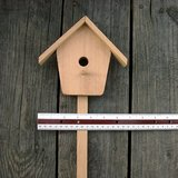 "VTG CRAFT WOOD BIRD HOUSE on STICK 22"" hi, unfin in St. Charles, Illinois"