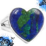 NEW - Blue Azurite In Chrysocolla Heart Sterling Silver Ring - Size 9 in Alamogordo, New Mexico