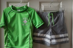 Boys Carter's Green/Grey 2-Piece Swim Shirt/Trunks Size 4T in Lockport, Illinois