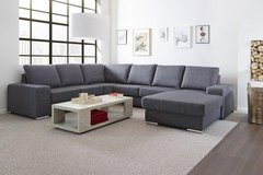 Camden Sectional - Available in Light Gray Linen Material or Black PU  includes delivery in Spangdahlem, Germany