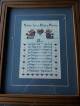 """Rules for a Happy Home"" framed crosstitch in Camp Lejeune, North Carolina"