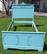 SOLD twin teal bed  vintage bamboo accents in Morris, Illinois