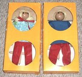 2 Dolls RARE New VINTAGE Boy & Girl Marionette Wooden String Puppet Doll Set from Germany in Morris, Illinois