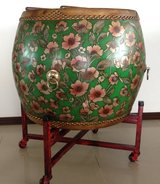 Big Asian style Decorative Drum w/ Stand in Okinawa, Japan