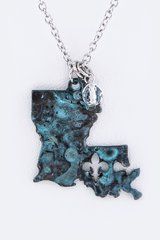 Oxidized Louisiana Map Pendant in Kingwood, Texas