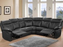 """Crown"" Leather Recliner Sectional in Black & Dark Grey -  see VERY IMPORTANT below in Spangdahlem, Germany"