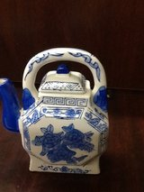Vintage Blue and White Porcelain Small Teapot with Flowers in Kingwood, Texas