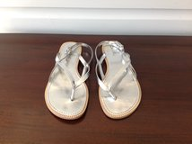 Girls Silver Thong Sandals Size 4 in Plainfield, Illinois