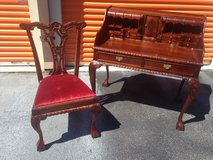 Chippendale Desk N Chair Mahogany in Cherry Point, North Carolina