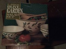 Olive Garden ceramic salad set, big bowl with four small bowls. in Glendale Heights, Illinois