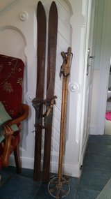 Wooden Skis w poles. Very old in Ramstein, Germany