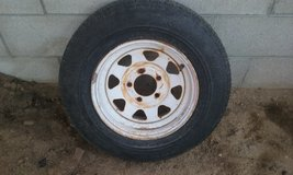 Trailer tire in Yucca Valley, California