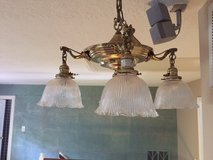 Hanging lamp, antique electrified gas lamp in Houston, Texas