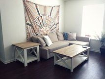 Wood X frame coffee end table set in Wilmington, North Carolina