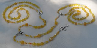 Lasso Wedding Rosary Sunfire Agate Italian Silver Medals and Crucifix Unique in Kingwood, Texas