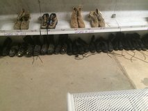Black military boots assortment of sizes in Fort Polk, Louisiana