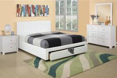 White Leatherette Bed with Pull Out Drawer in Fort Irwin, California
