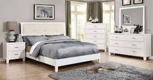 White Leatherette Tufted Bed in Fort Irwin, California