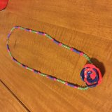 Hand made ceramic rose beaded necklace in Bolingbrook, Illinois